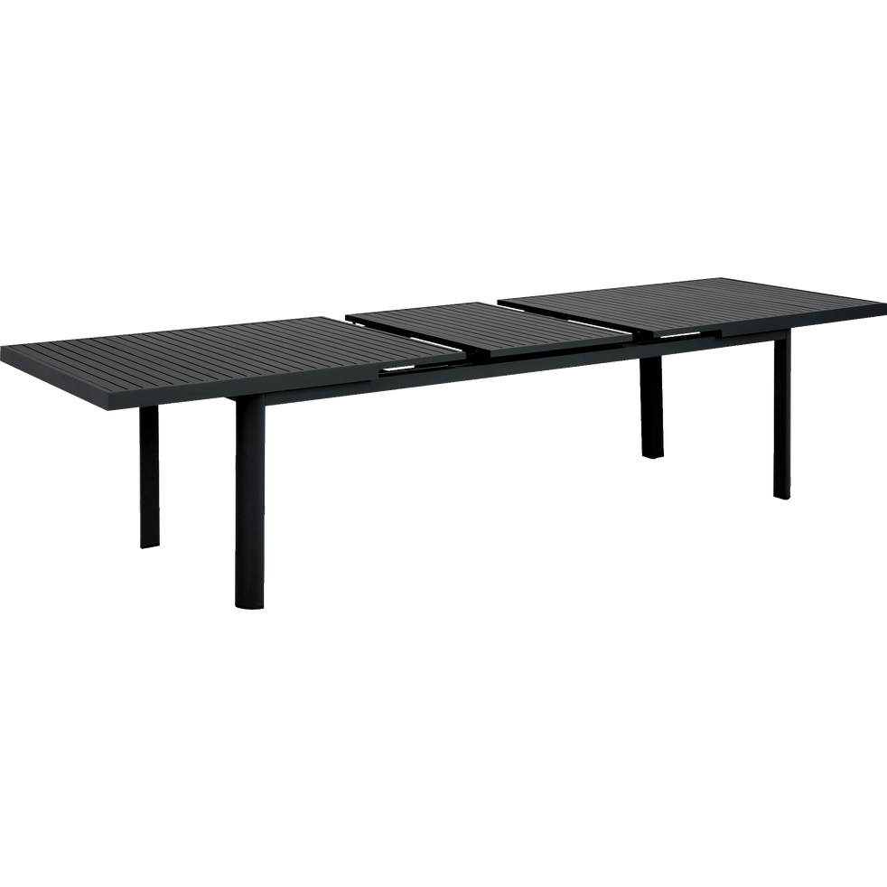 Table de jardin extensible en aluminium noire (8 à 12 places)-MINORQUE