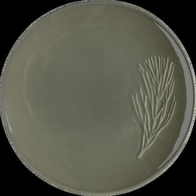 Assiette plate en grès vert cèdre D25cm-PIN D'ALEP