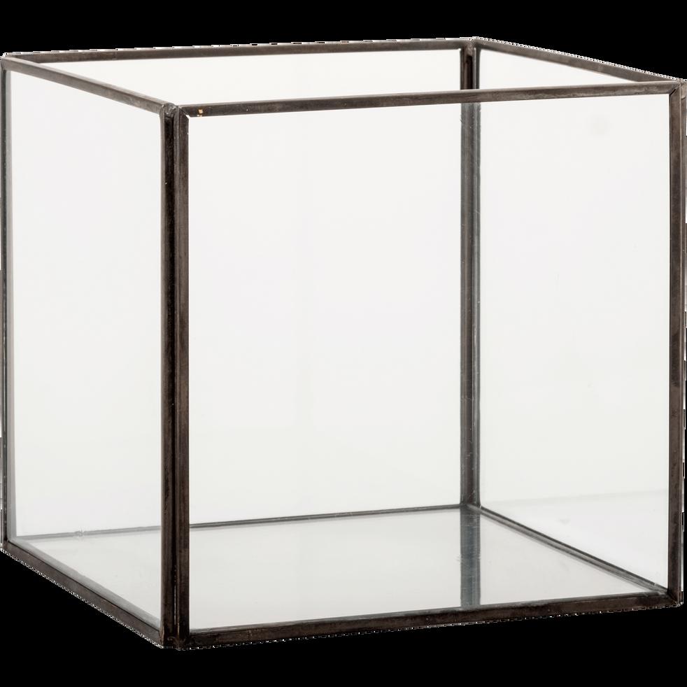bo te de rangement en verre noir 15x15x14cm aster. Black Bedroom Furniture Sets. Home Design Ideas