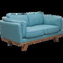 Canapé 2 places fixe en tissu bleu-ASTORIA