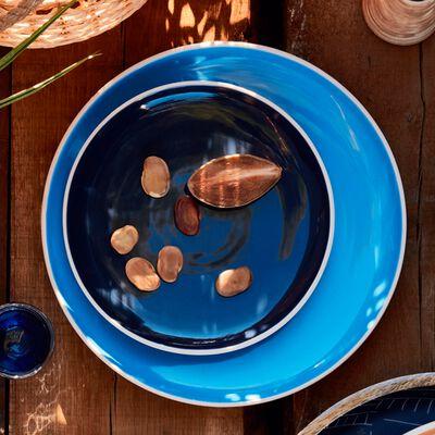 Assiette à dessert bicolore en faïence bleue D20cm-CANOPE