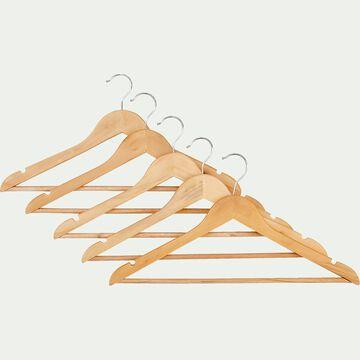 Lot de 5 cintres en bois - naturel-TAO