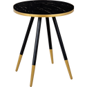 Bout de canapé rond effet marbre noir-MARTI