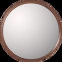 Miroir rond en bois de noyer D80 cm-DUO