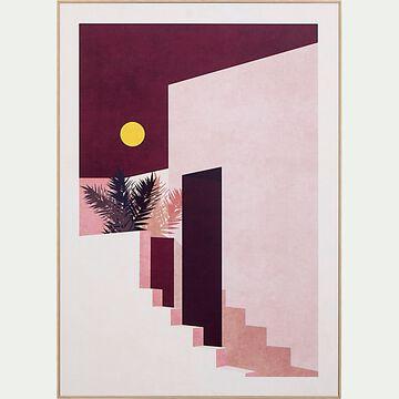 Image encadrée bâtiment 50x70cm - rose-PATRAS