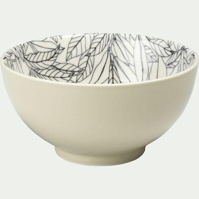 Coupelle en porcelaine motifs laurier - beige nèfle D11,5cm-AIX