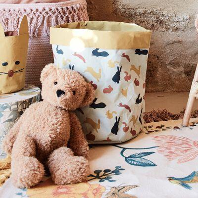Panier de rangement en tissu motifs sous-bois - jaune d30cm h40cm-Paul