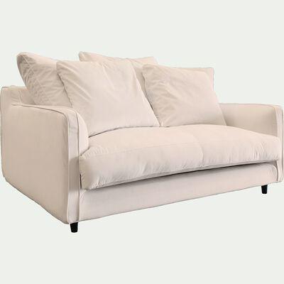 Canapé 2 places fixe en velours - beige roucas-LENITA