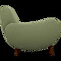 Canapé 2 places fixe rétro en tissu kaki-BEAN