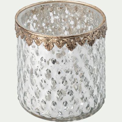 Photophore en verre texturé à liseré doré - argenté D7,5xH7,2cm-LEON