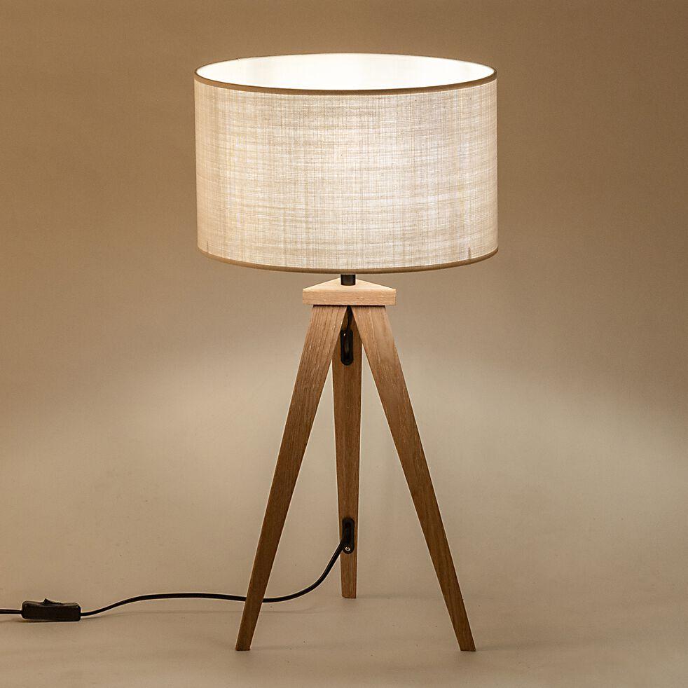 Lampe à poser en bois - beige roucas-TRIX