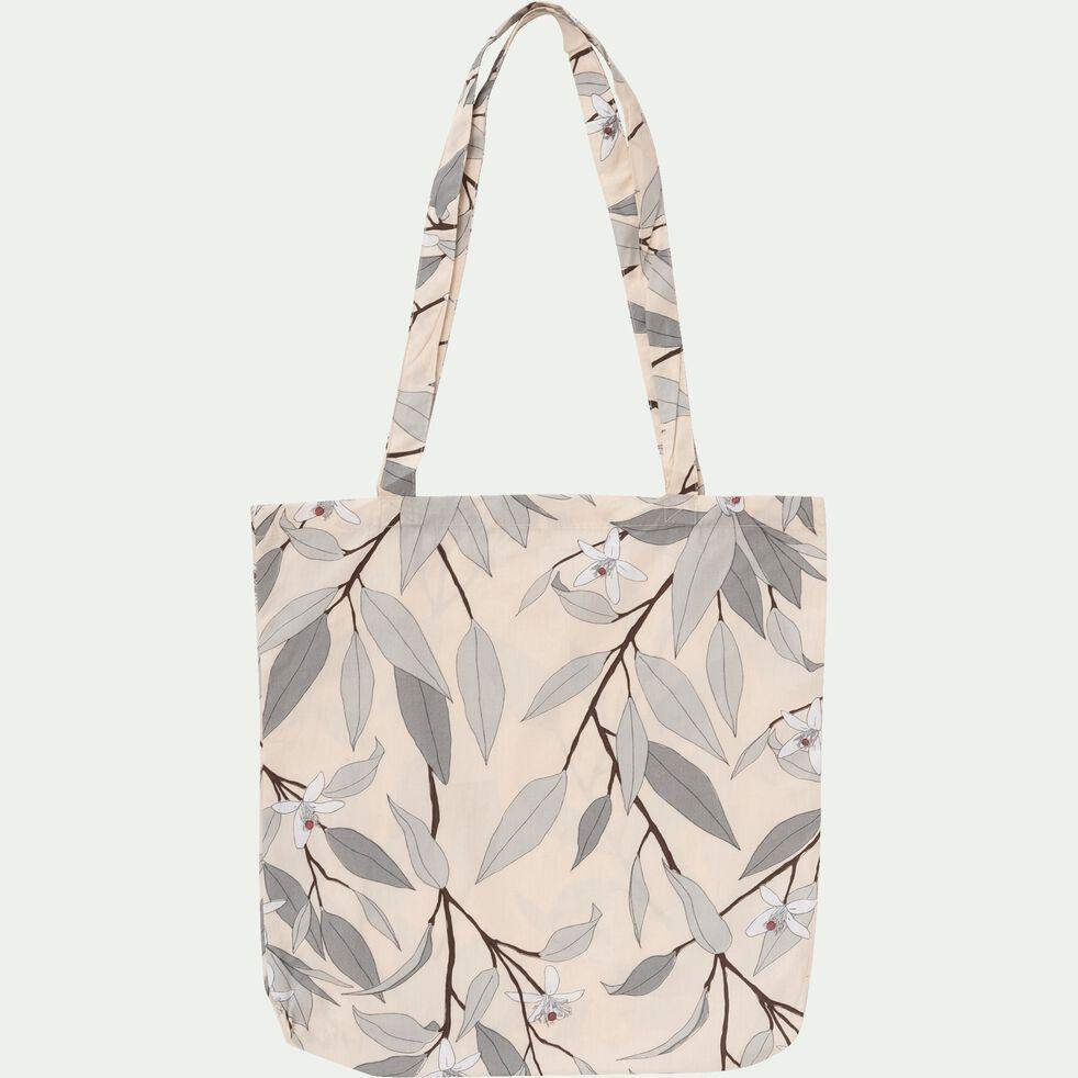 Housse de couette en percale de coton motif Fleurs d'oranger - gris restanque 240x220cm-FANNY
