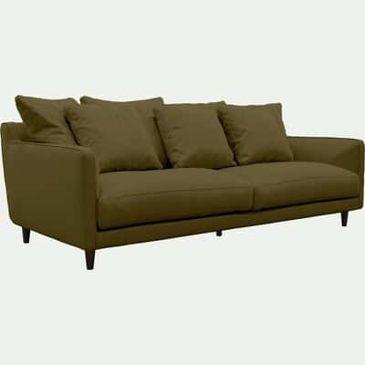 Canapé 4 places fixe en tissu vert cèdre-LENITA