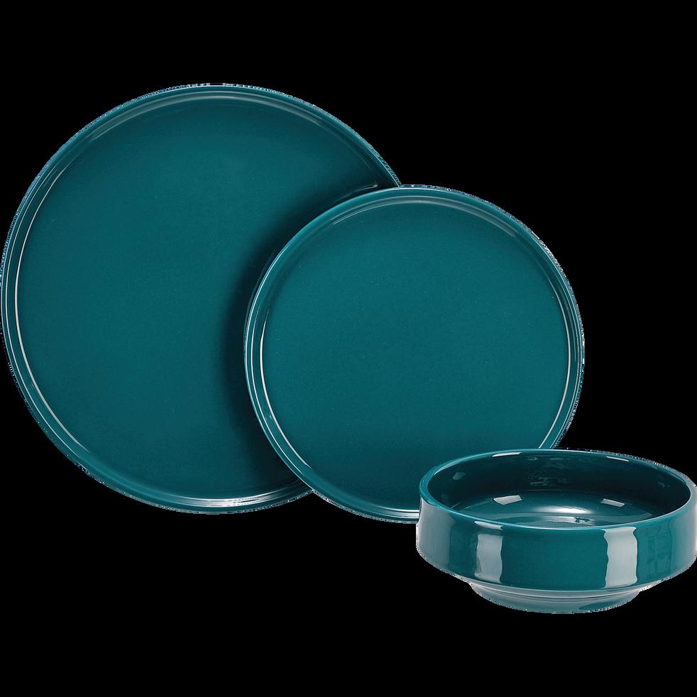 Assiette à dessert en faïence bleu D21cm-VADIM
