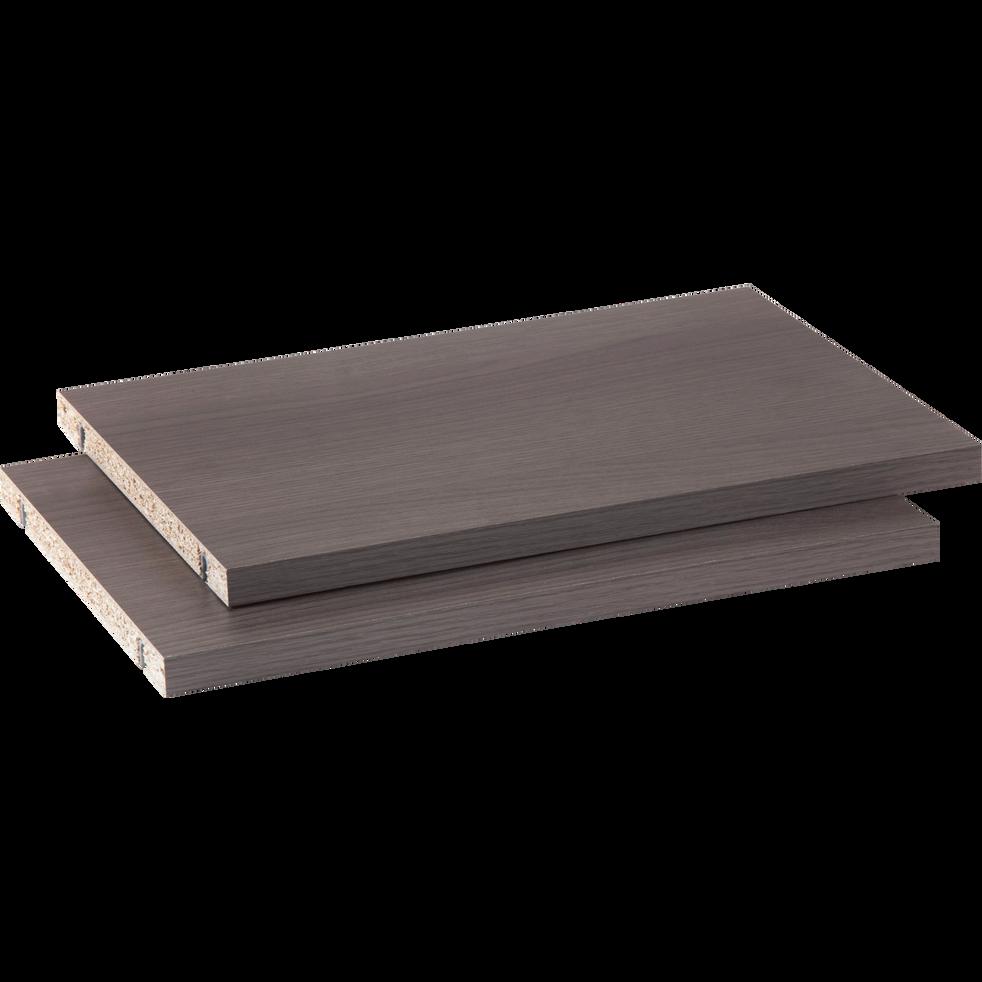 Lot de 2 tablettes coloris chêne grisé L37cm-Biala