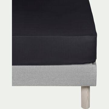 Drap housse en coton - gris calabrun 90x200cm B25cm-CALANQUES