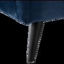 Lit 2 places avec structure et tête de lit en velours Bleu figuerolles - 140x200 cm-AGNES