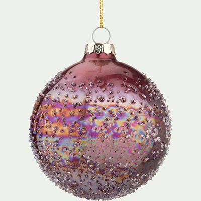 Boule de Noël en verre rouge D8cm-ISOLDE