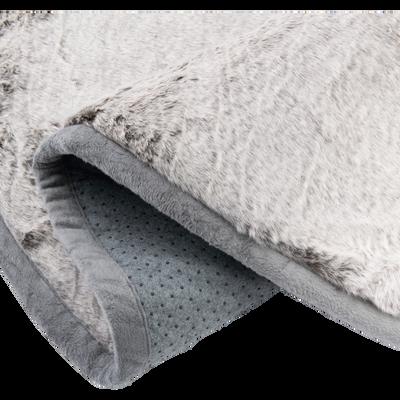Tapis rond fourrure D150cm gris foncé-DALLAS