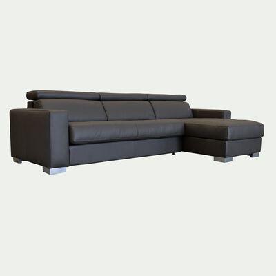 Canapé d'angle réversible fixe en cuir de buffle - taupe foncé-Mauro