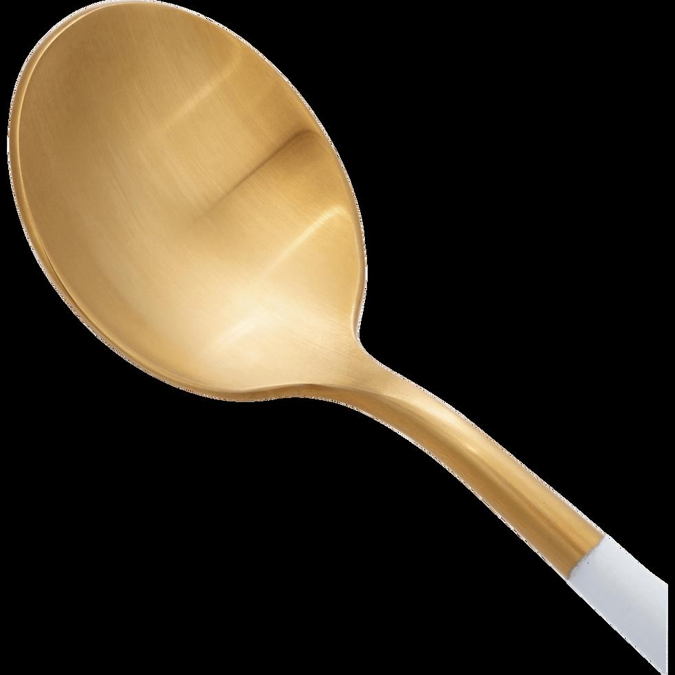 Ménagère 16 pièces en inox doré et manche blanc-REVEL