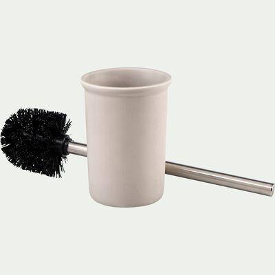 Brosse et porte-brosse wc en céramique lisse - beige alpilles-DANA