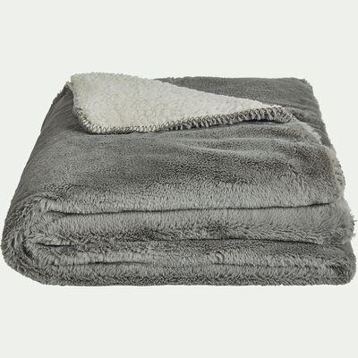 Plaid imitation fourrure en polyester - gris restanque 180x220cm-MARIUS