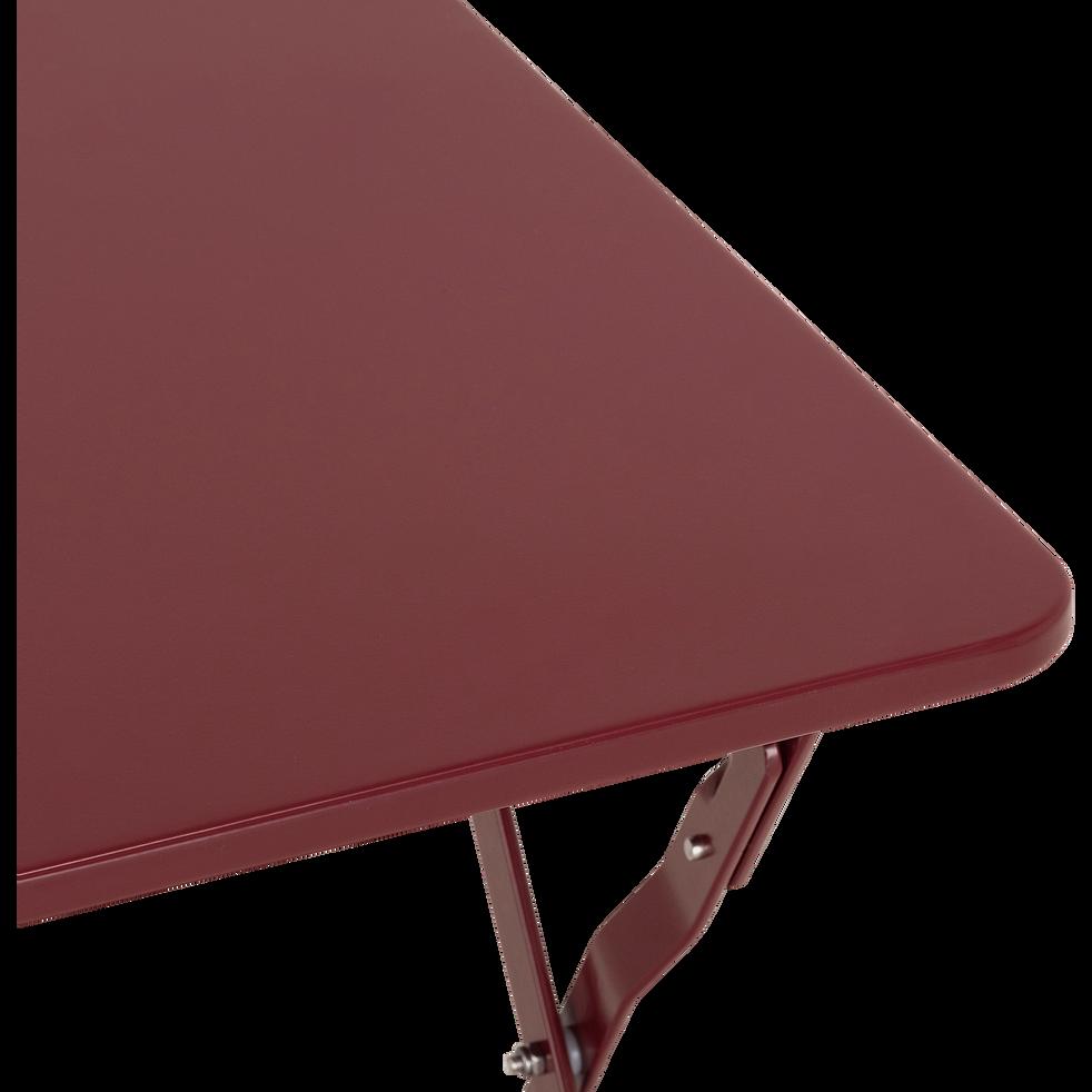 CERVIONE - Table basse de jardin pliante rouge sumac en acier