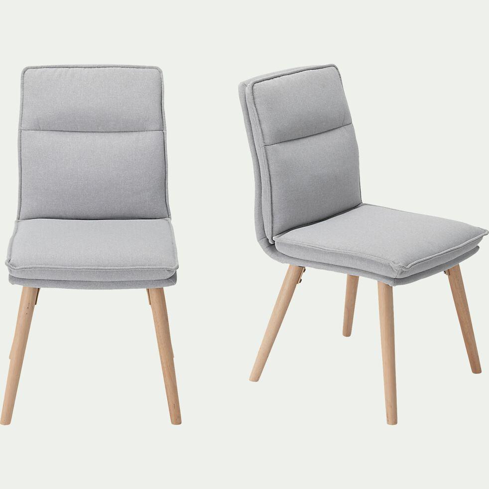 Chaise en tissu et piétement en bois - gris borie-PATI