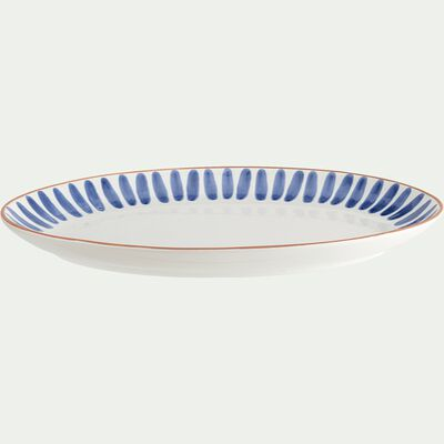Plat ovale en faïence - bleu 40cm-COTTA