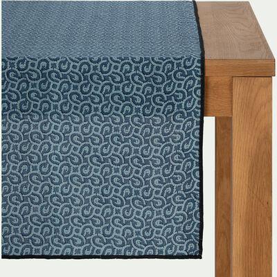 Chemin de table en lin et coton bleu 50x200cm-MOSAIQUE