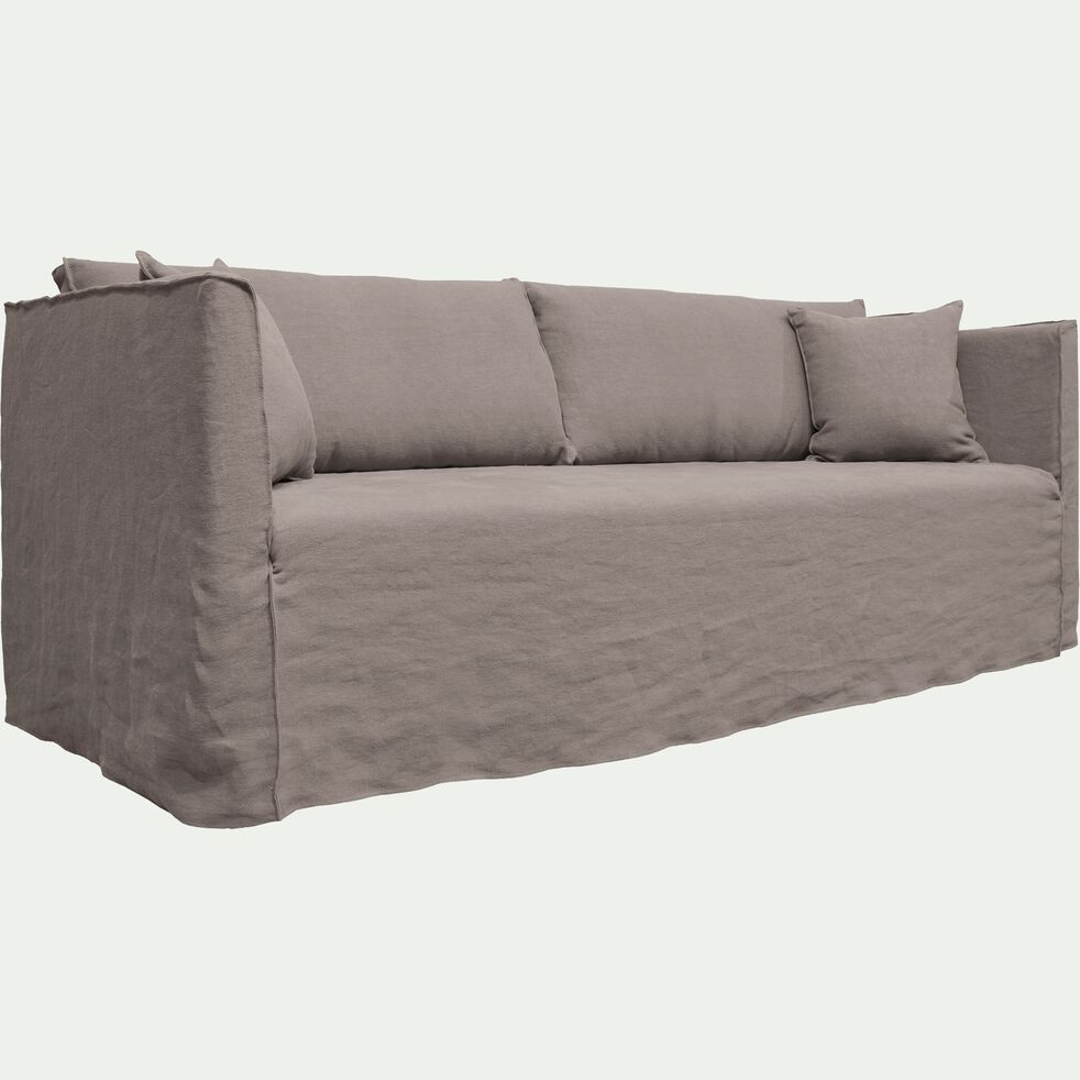 Canapé 5 places fixe en lin gris borie-VENCE
