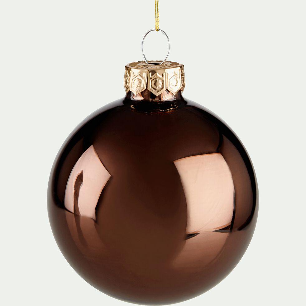 10 boules en verre chocolat brillant et mat D6cm-EMAIL