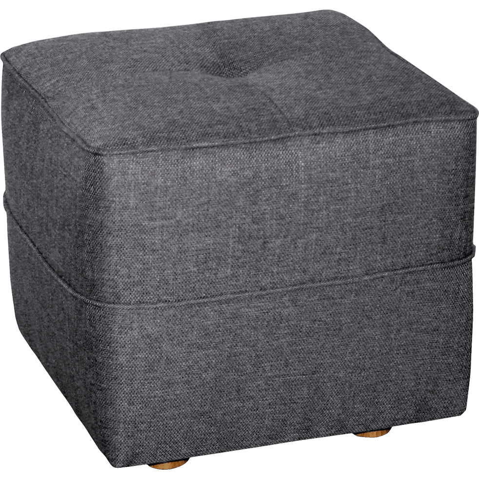 Pouf en tissu gris anthracite-VICKY