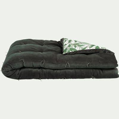 Édredon en velours de coton motif Laurier - vert cèdre 100x180cm-LAURIER