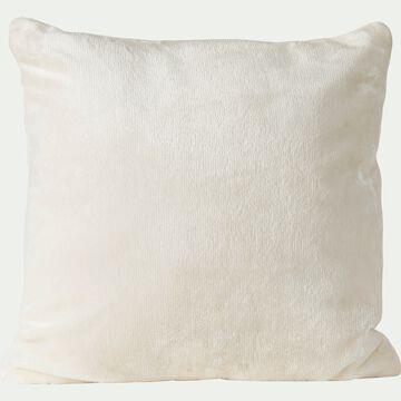Housse de coussin effet polaire en polyester - blanc ventoux 40x40cm-ROBIN
