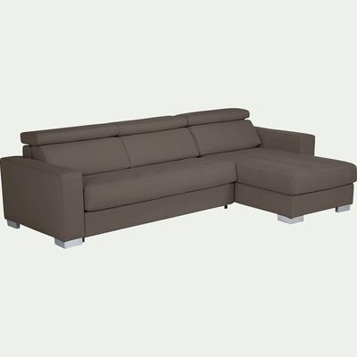 Canapé d'angle réversible fixe en cuir de buffle - taupe-Mauro