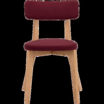 Chaise en tissu rouge sumac avec structure bois clair-AMEDEE