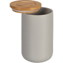 Pot en porcelaine gris avec couvercle en bambou D10,5xH16 cm-JAN