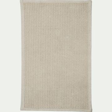 Tapis de bain tissé plat en coton - beige roucas 60x100cm-ESCAPADE