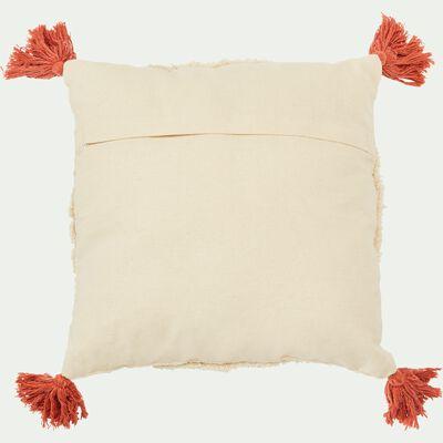 Coussin en coton écru avec pompons corail 40x40 cm-KALYE