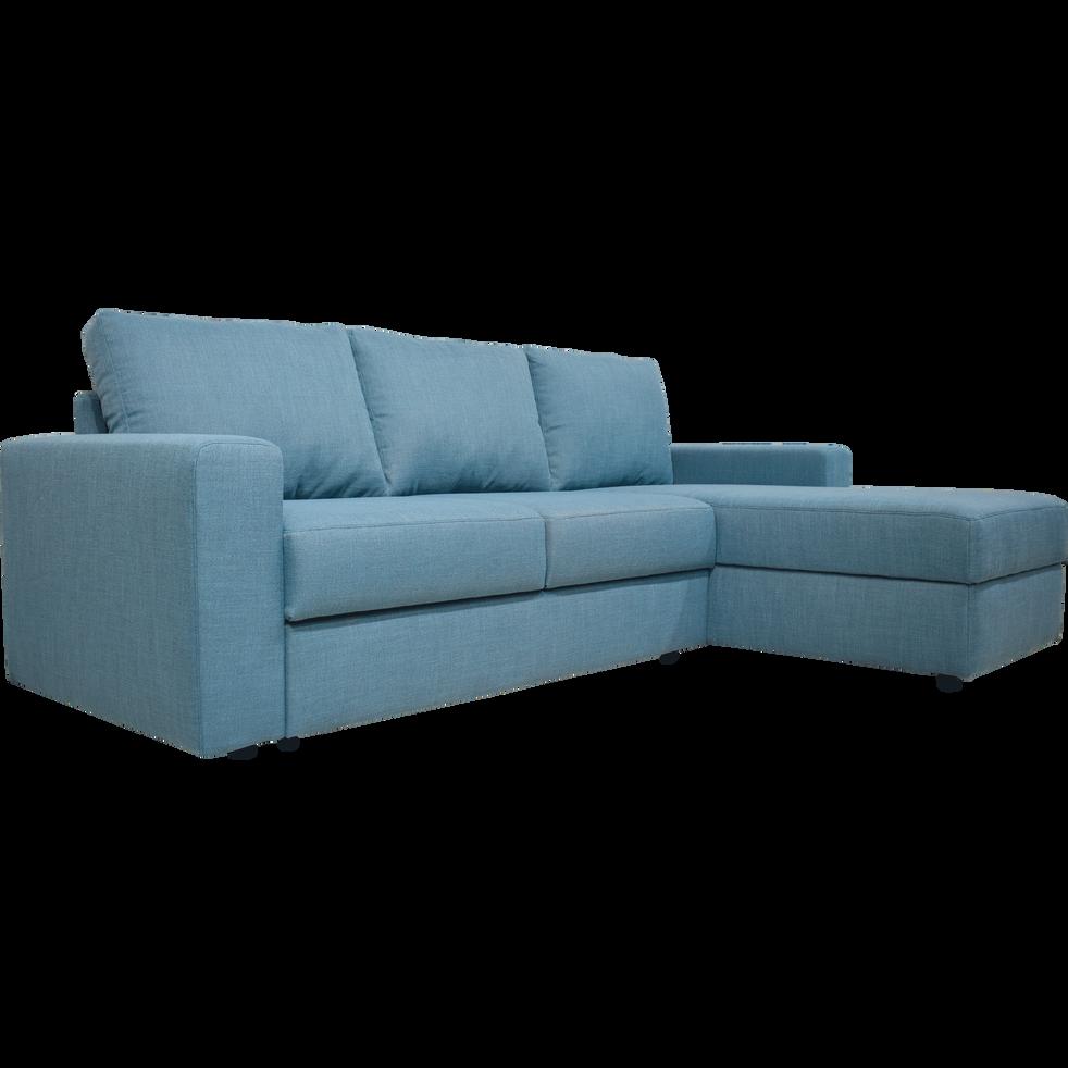 canap d 39 angle r versible convertible en tissu bleu. Black Bedroom Furniture Sets. Home Design Ideas
