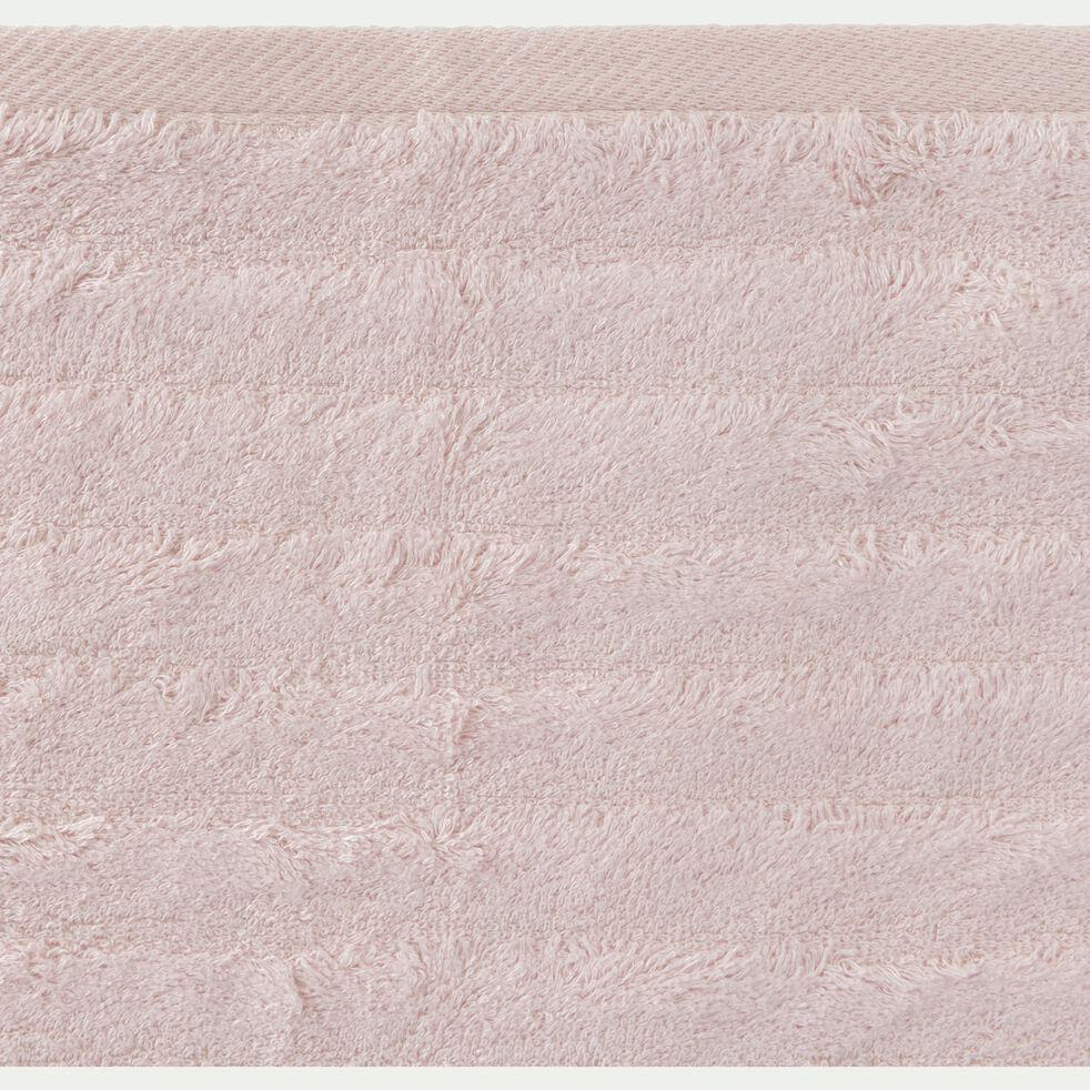 Drap de douche longues mèches en viscose et coton - rose grège 70x140cm-AUBIN