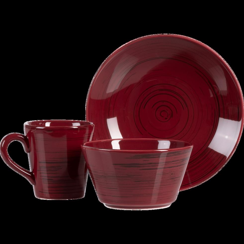 Assiette creuse en faïence rouge sumac effet patiné D21cm-GASTON
