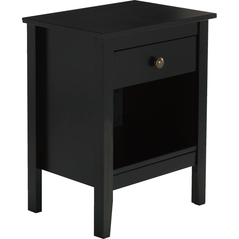 table de chevet en pin massif noir 1 tiroir et 1 niche lison alinea. Black Bedroom Furniture Sets. Home Design Ideas