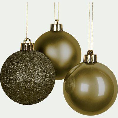 Lot de 10 boules de Noël vertes D6cm-VELETA