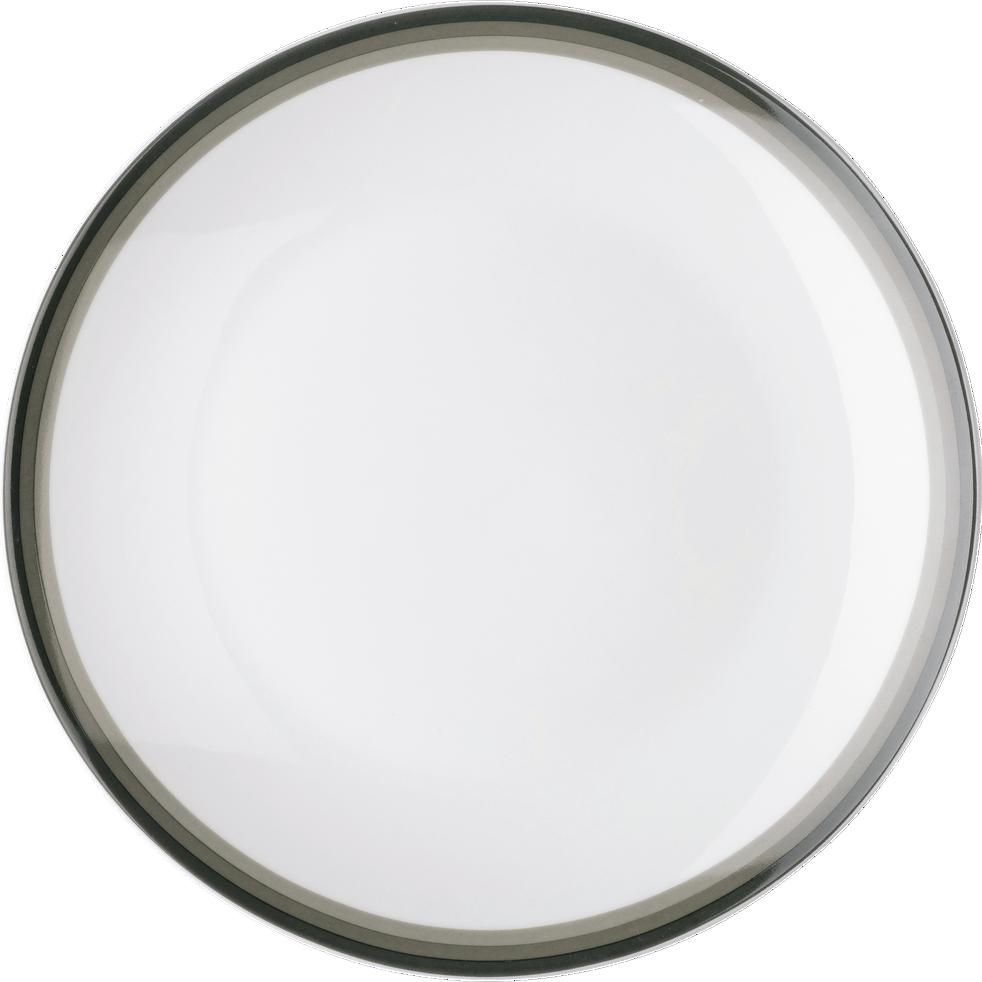 Assiette plate en porcelaine motif dégradé vert cèdre D26.5cm-VIC