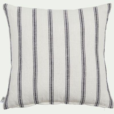 Coussin rayé en lin et coton - blanc 45x45cm-PASSO