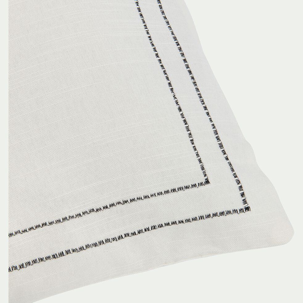 Coussin brodé en coton - écru et noir 50x70cm-GALLIA