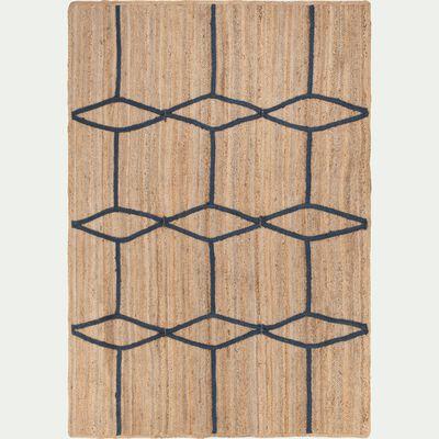 Tapis en jute - naturel et bleu 160x230cm-NOHA